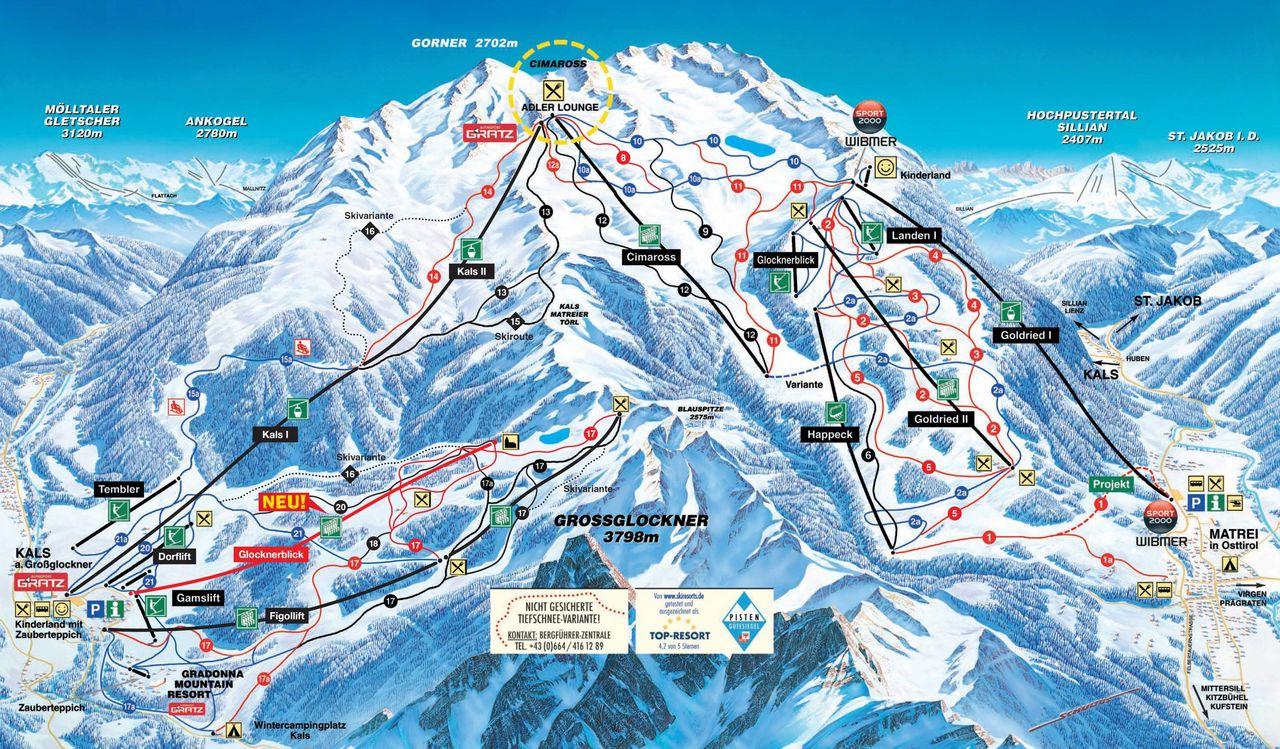 Pistenplan - Skigebiet Grossglockner Resort Kals und Matrei in Osttirol