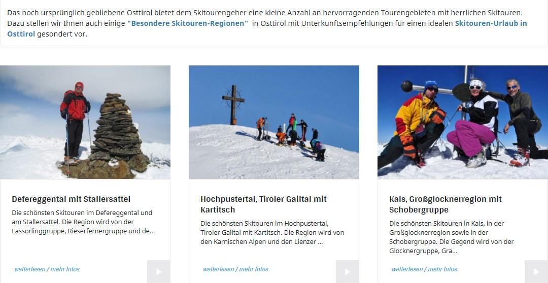 Informationen zu Skitouren Regionen in Osttirol   www.almenrausch.at