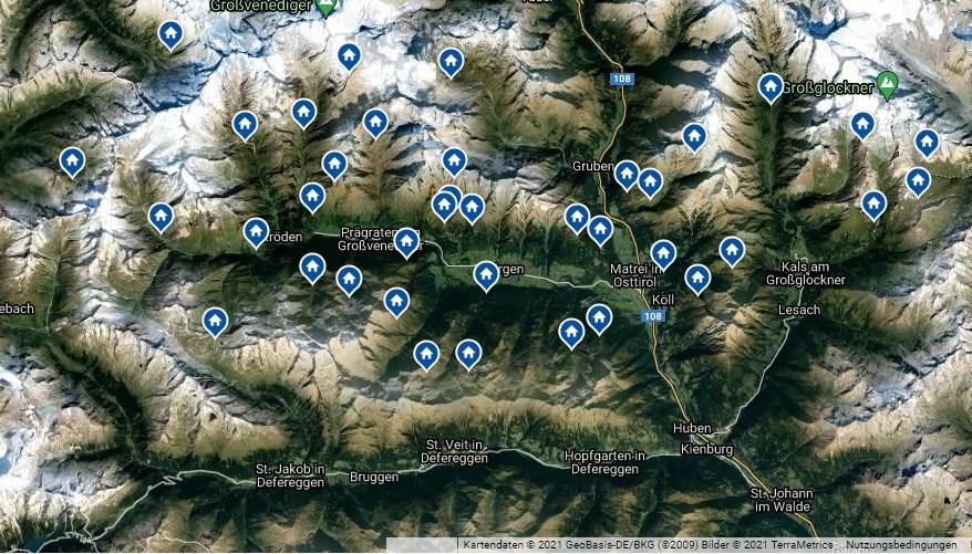 Übersichtsplan mit detaillierter Beschreibung der Virgentaler Hütten, samt Kontaktdaten